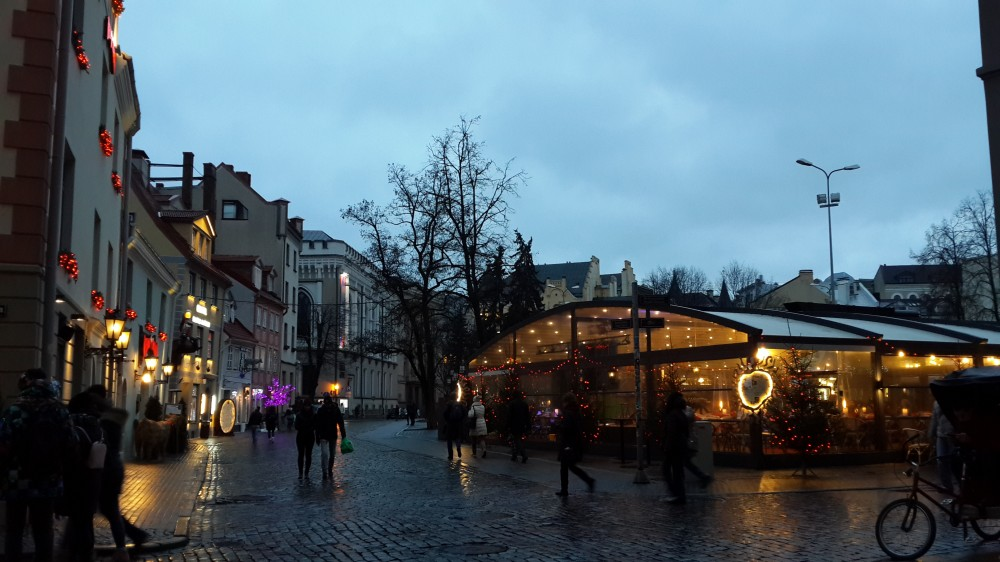 Площадь Ливов, Рига, Латвия, январь 2018