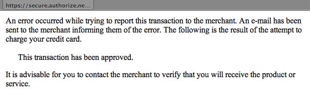 Screenshot: Error... transaction has been approved