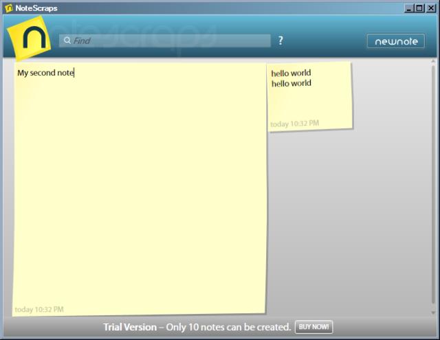 Notescraps screenshot: Typing a new note