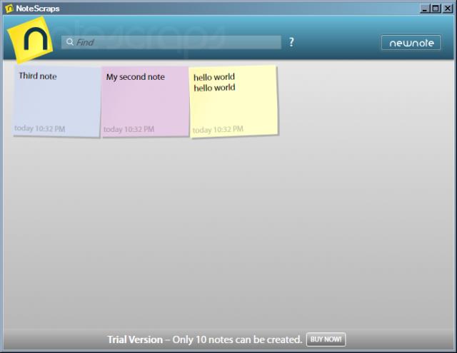Notescraps screenshot: Note colors