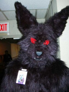 Closeup of furbo's bat costume.
