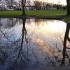 Flooded parking lot at Unami Park in Cranford.