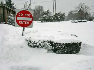 Sign in a snowdrift