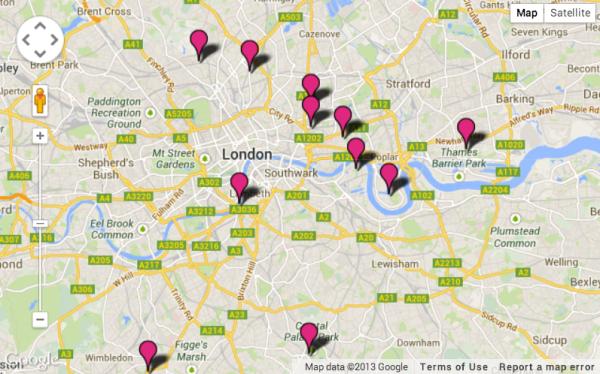 Карта Лондона с обозначенными на них фермами