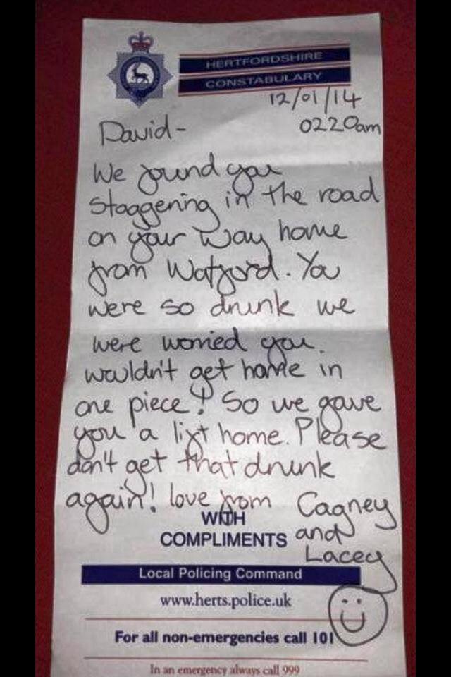 записка от британских полицейских