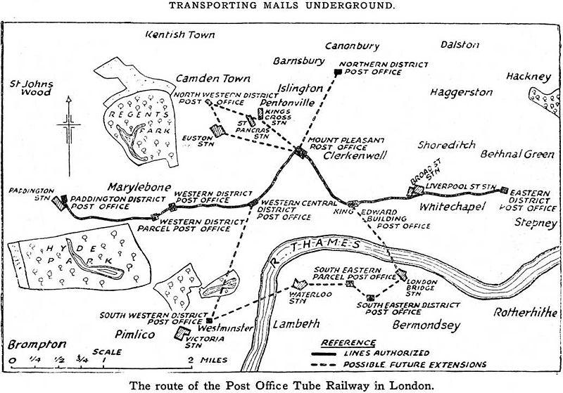 Карта Почтовой Подземки в Лондоне