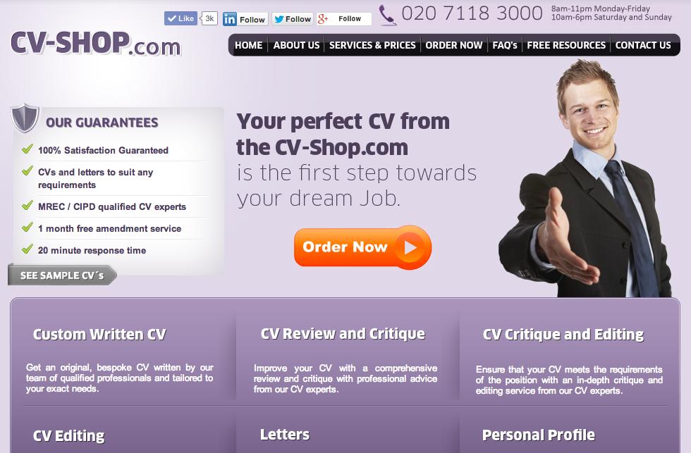 CV Shop website