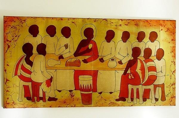 Икона Тайной вечери на стене в семинарии в Рируте (Кения)