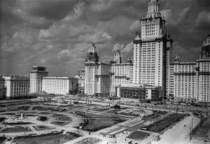 Строительство главного здания МГУ - советская кинохроника
