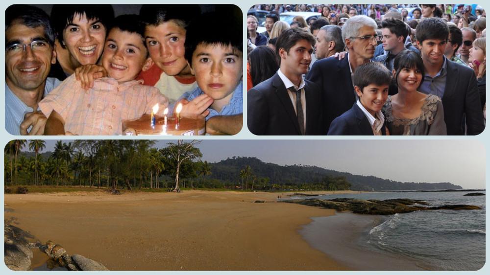 """Прототипы героев фильма """"Невозможное"""" 2012: семья Альварез в 2004 и 2012, внизу курорт Khao Lak в 2010"""