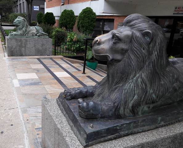 two bronze lions