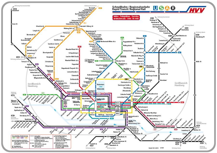 Схема железных дорог Гамбурга