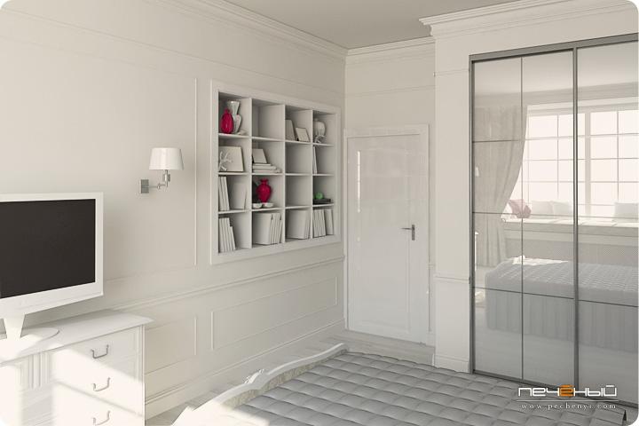 классический стиль, цвет фуксии в интерьере, комната для девушки, розовый цвет в интерьере, интерьер спальни, классическая спальня, шкаф купе в классическом интерьере, белый в интерьере,ниша в классическом интерьере, студии дизайна в Москве, дизайнер интерьера Антон Печёный