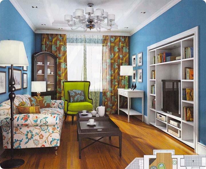дизайн гостиной, голубой в интерьере, белый в интерьере, английский стиль, современная классика