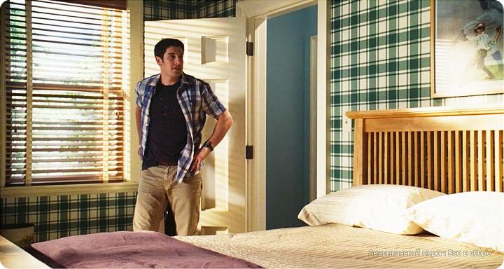 дизайн интерьера комнаты подростка из фильма Американский пирог, комната подростка в стиле кантри, дизайн интерьера загородного дома, деревянные жалюзи в интерьере, обои с клетчатым рисунком