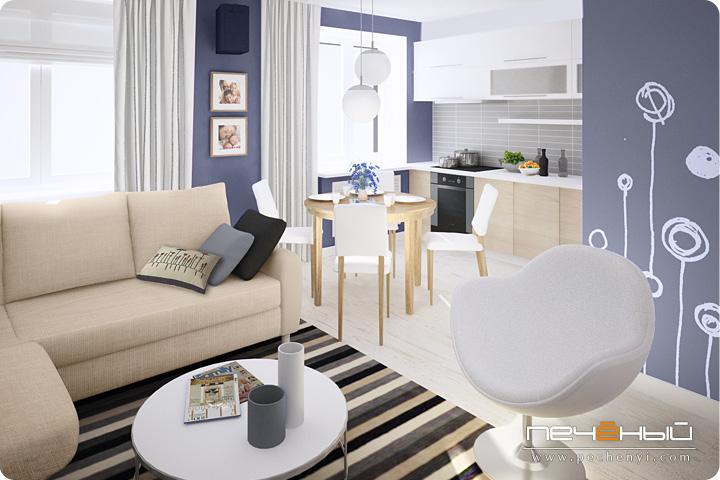 синий в интерьере, настенные наклейки, крашенный пол, белый плинтус, дизайн интерьера гостиной, дизайнер интерьера Антон Печёный