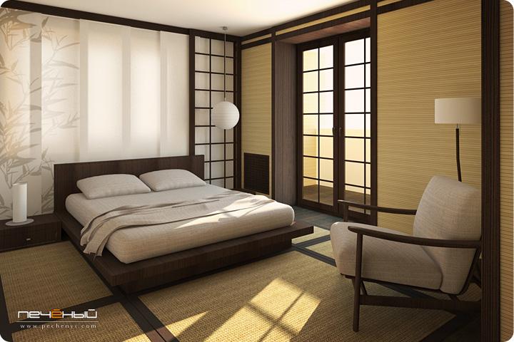 Дизайн интерьера спальни в японском