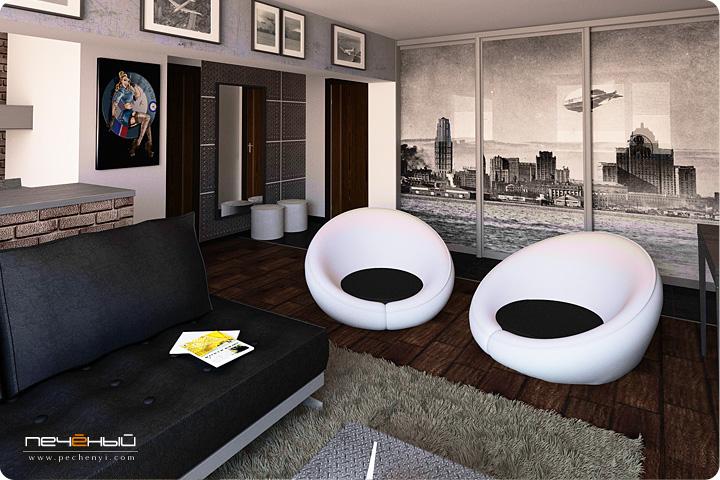 лофт стиль, кожаный диван, гостиная и кухня, шкаф купе с фотографией, белые кресла, метал в интерьере, дизайнер интерьера Антон Печёный
