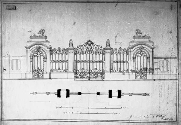 Ворота парадные_проект 1851 Боссе