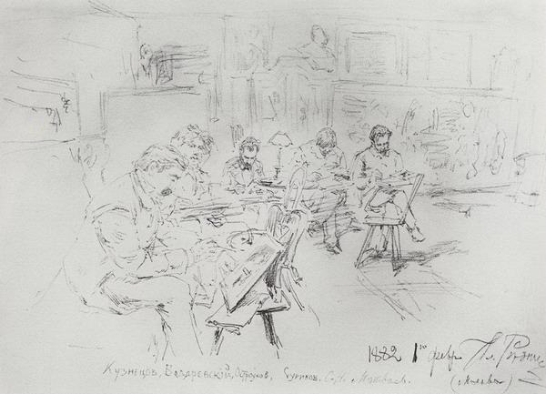 В мастерской И.Е.Репина. Рисовальный вечер 1882