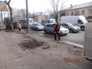 Очистка тротуара ул Аврора (2)