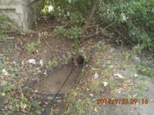 Очистка водопропускных труб на улице Фасадной (1)
