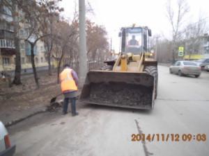 Очистка прилотковой части ул.Пугачевский тракт