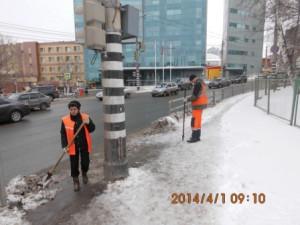 очистка тротуара на Волжском пр (1)