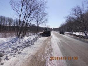 Поджим снежного вала Красноглинское шоссе