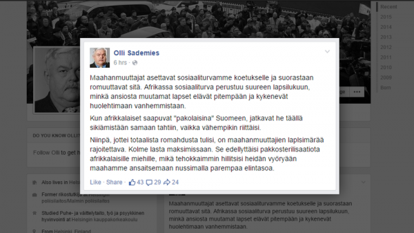 Olli Sademies facebook kuvakaappaus, otettu n. 12 00 26.5.2015