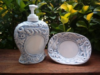 Lace Look Lotion Dispenser and Soap or Ring Dish - Denim Blue by TexasCeramics
