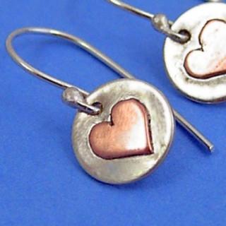 Circle and Heart Bi-Metal Earrings