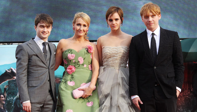 J.K Rowling with Harry Potter Cast