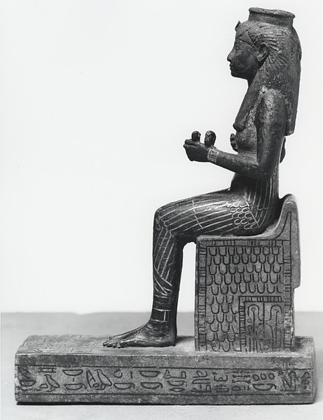 461px-Egyptian_-_Statue_of_a_Seated_Isis_-_Walters_54417_-_Left