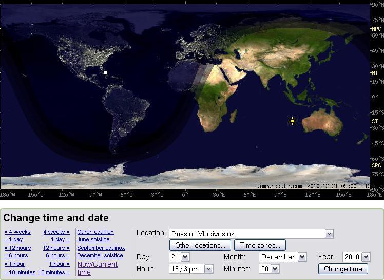 Освещённость после перехода к часовому поясу (GMT +10) в 2011 году