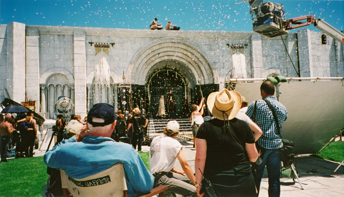 Behind-the-scenes, can see edges and confetti thrower.