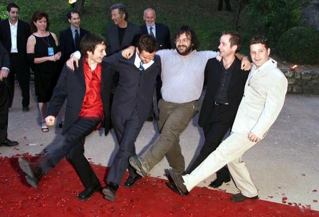 Hobbits & PJ kickline at Cannes 2001
