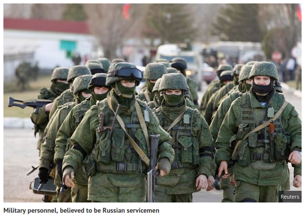 Military personnel, believed to be Russian servicemen