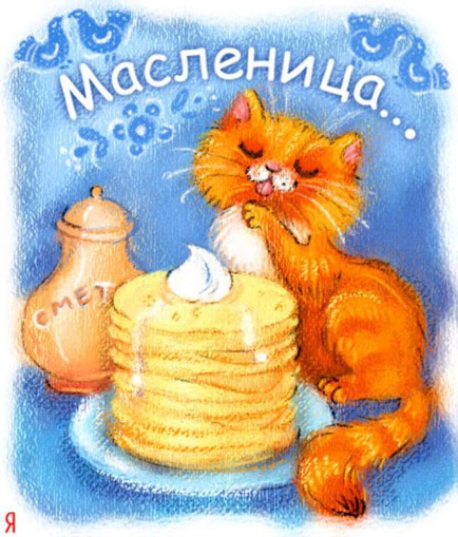 Открытки, открытки с котом масленица