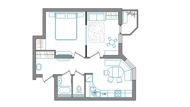 Перепланировка 3-х комнатной квартиры в II-68
