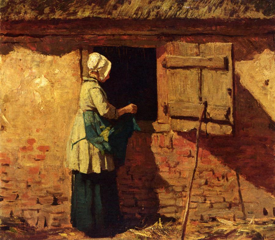 Mauve_Anton_A_Peasant_Woman_By_A_Barn