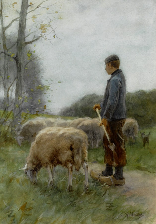Mauve_Anton_A_Shepherd_and_his_Flock_watercolor