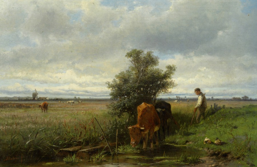 Mauve_Anton_Cattle_Watering_Oil_on_Canvas
