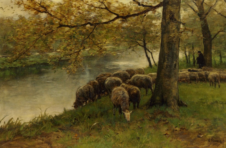 Mauve_Anton_Sheep_Watering_by_a_River_Oil_on_Canvas