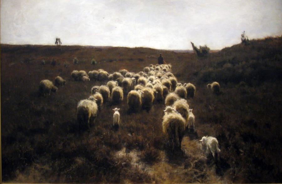 The Return of the Flock, Laren, Oil on canvas