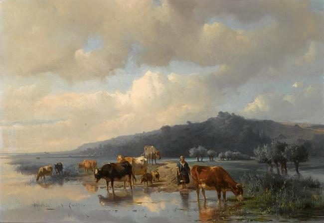 Anton Mauve Dutch, 1838-1888, a cowherdess with watering cows