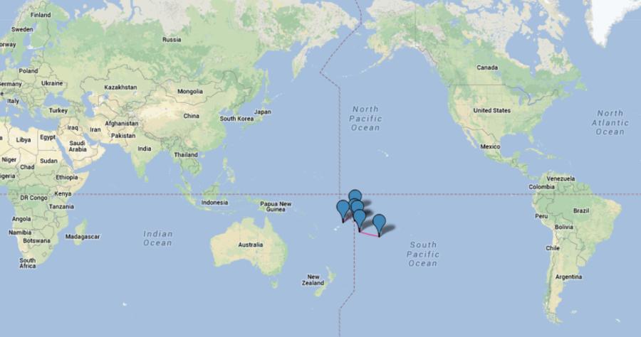 Маршрут на карте мира
