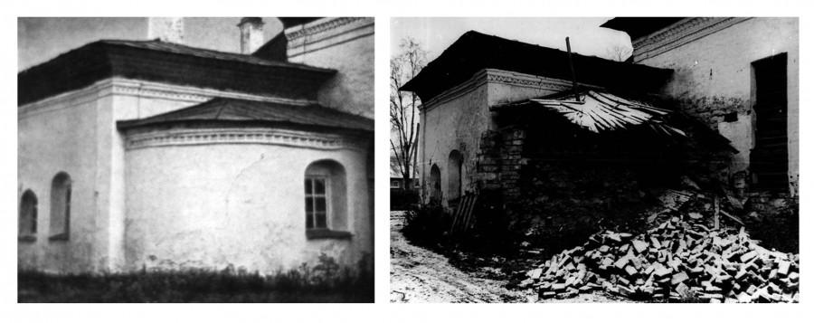Вид на южный придел в начале и конце XXв.