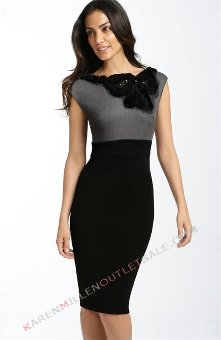 Karen-Millen-Dresses-Flower-Neckline-Grey-And-Black-Dress