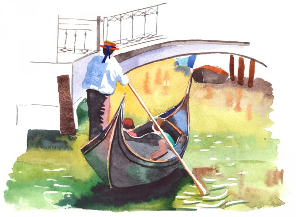 венецианская лодка рисунок